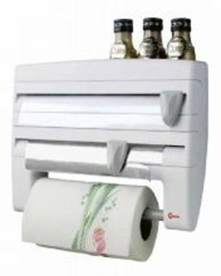 Picture of 4 in 1 Kitchen Roll Holder Cling Film Tissue Dispenser - White