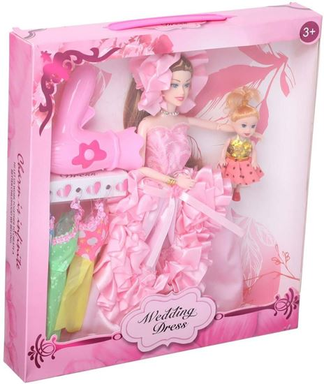 Picture of Wedding Dress Doll for Girls, Set of 2, Pink