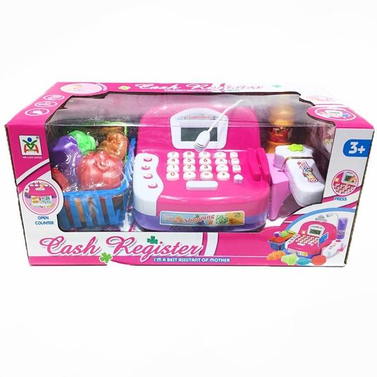 Picture of cash register toys with small basket - pink color