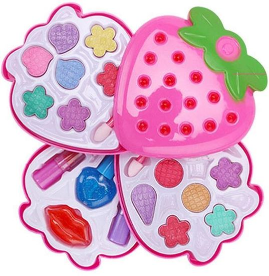 Picture of 4 layer Strawberry Shaped Kids Play Sets Children Makeup Set Kids Tool Set Girls toys Make Up Pretend Play toys