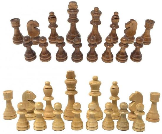 Picture of wood chess pieces large size