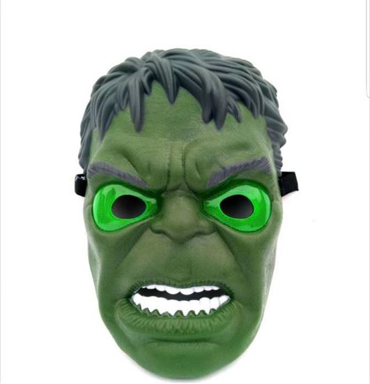 Picture of Face full mask green hulk light glow halloween party birthday toy gift night fashion mask unisex adjustable all ages