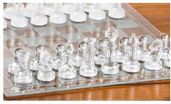 Picture of chess glass pieces and glass board large size